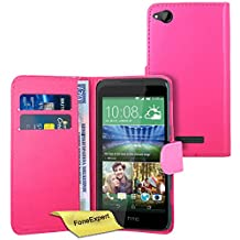 HTC Desire 320 Case, FoneExpert® Premium Leather Flip Book Wallet Case Cover For HTC Desire 320 + Screen Protector & Cloth (Pink)
