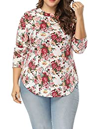 Women's Plus Size Printed Floral T Shirts Long Sleeve...