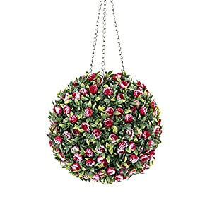 ROY Gradient Red Grass, 11inch Topiary Ball-Artificial Flowers Ball with Chain (Type 1) 76