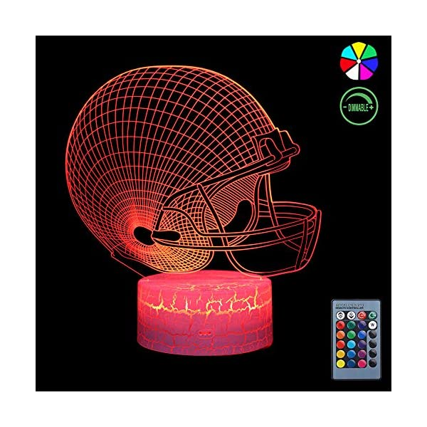 3D Night Light for Kids, 7 Colors Changing Smart Switch Remote Control USB & Battery Powered Football Helmet Toy 3D Crackle LED Desk Lamps Perfect Birthday Party Gift for Baby Kid Boy Girl Friend