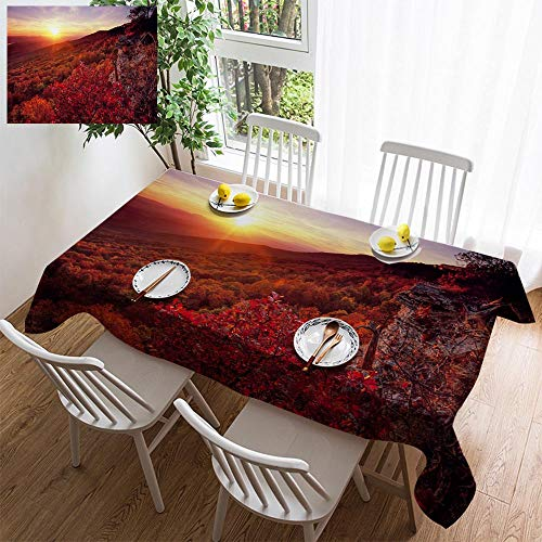 (HOOMORE Simple Color Cotton Linen Tablecloth,Washable, Blackjack Oak South Bluff Mount Magazine Decorating Restaurant - Kitchen School Coffee Shop Rectangular 86×54in)