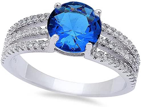 Round Simulated Blue Sapphire & Cubic Zirconia Fashion .925 Sterling Silver Ring Sizes 6-9