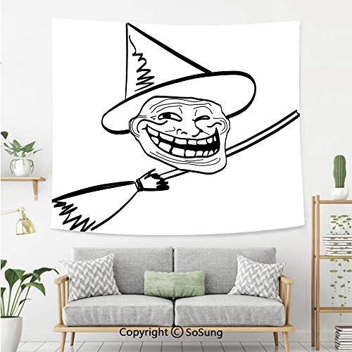 Humor Decor Wall Tapestry,Halloween Spirit Themed Witch Guy Meme LOL Joy Spooky Avatar Artful Image,Bedroom Living Room Dorm Wall Hanging,60X40 Inches,Black White -