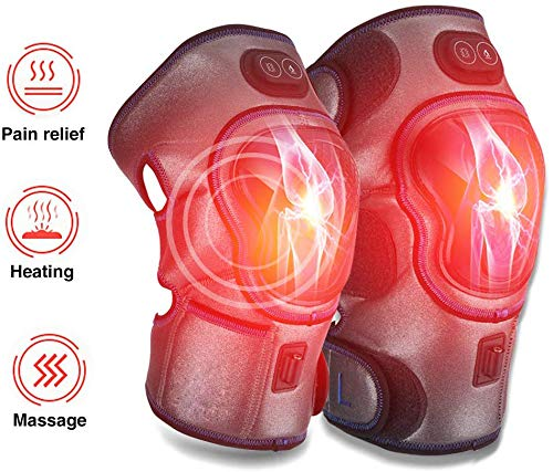Electric Knee Massager, Knee Pad Heated Knee Brace Wrap Wireless Rechargeable 3 Temperature Control with Heat Therapy
