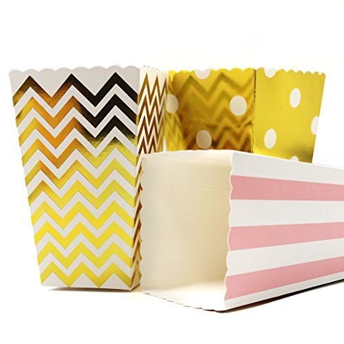 Popcorn & Candy Favor Boxes For Bridal ,Birthday and Baby Shower, 36 Count (Pink, Gold)]()