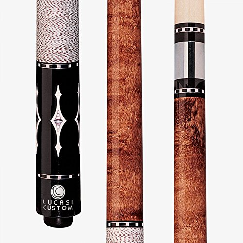 Lucasi Custom Walnut Birds-Eye Pool Cue with Imitation Mother of Pearl and White Diamond Inlays, - Pool Walnut