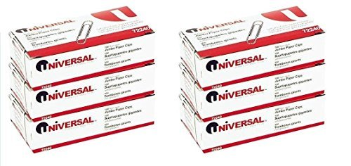 Universal Nonskid Paper Clips, Wire, Jumbo, Silver-100 ct, (6 Boxes) (Jumbo Paper Clips)