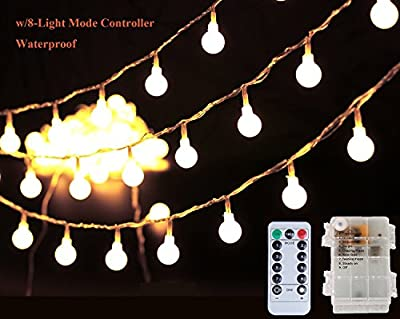 16.4ft/10m 50 LED Globe String Lights Bulbs with Remote for Indoor/Outdoor Commercial Decor, Gardens, Wedding, Christmas Party, Battery-powered