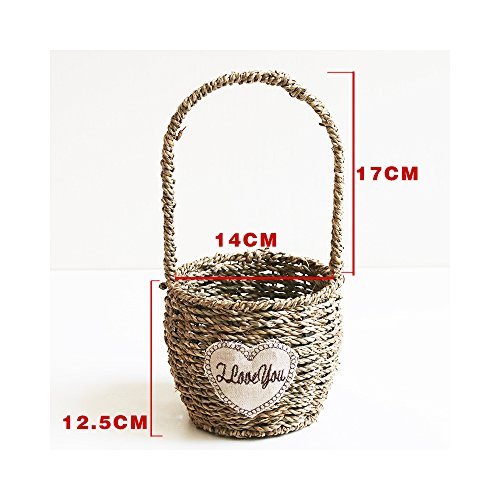 Endlless Hand-Woven Natural Straw and Willow Basket Wicker Flower Pots Flower Wall Hanging Flowerpot Hanging Basket Rustic Rattan Hanging Wall Basket-05 (Wicker Flower Girl Baskets)