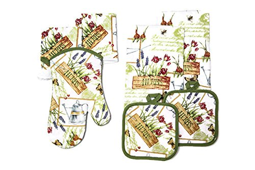 Kitchen Towel Linen Set of 7 Pieces 2 Kitchen Towels, 2 Potholders, 1 Oven Mitt and 2 Dishcloths (Garden Herbs)