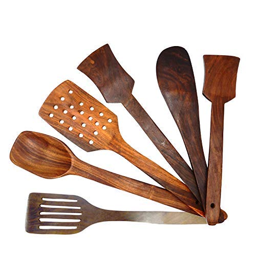 WhopperIndia Nonstick Wooden Spoons for Cooking - 6 Premium Hard Wood Cooking Utensils - Healthy and Natural Wooden Spatula Set - Strong and Solid Long Handled Wooden Spoon and Spatulas