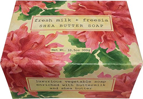 Bar Soap by Greenwich Bay Trading Company Shea Butter Luxurious Spa Cleanser Single 10.5 Ounce Block - Fresh Milk Freesia