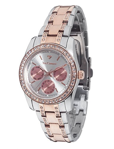 Yves Camani Mielle Ladies Watch Multifunction Rosegold Silver Bicolor Stainless Steel Day & Date YC1069-D
