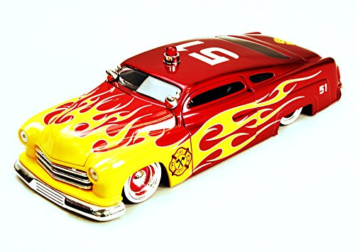 Jada 1951 Mercury Fire Dept. Car #51, Red w/Flames Toys Heat 92455 - 1/24 Scale Diecast Model Toy Car, but NO Box