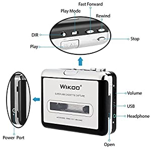 Wikoo Cassette Tape to MP3 CD converter via USB, Portable USB Cassette Tape Player Walkman Captures MP3 Audio Music -Compatible with Laptops and PC, Convert Tape Cassettes to MP3 Format (Silver)
