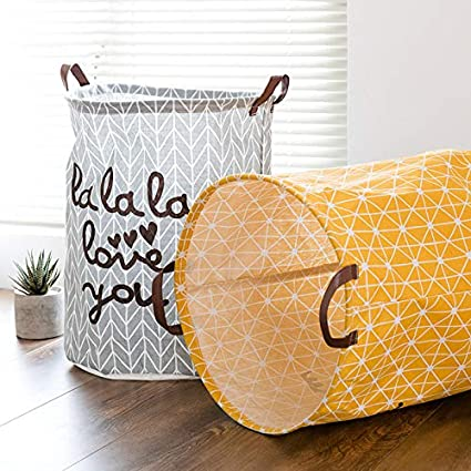 SUNXIN Cubo Plegable de Lino y algod/ón Cesta para la Ropa Sucia Gris Bolsa de Almacenamiento para Colada Barril Durable para Ropa