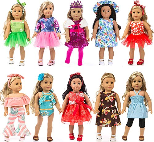 Total 24pcs/Set Doll Clothes and Accessories for 18 inch American Girl Doll ,Our Generation Doll Include Doll Outfits Mix Horn Style,Off-Shoulder Top,Princess Party Dress,Bikini etc (Dolls Generation)