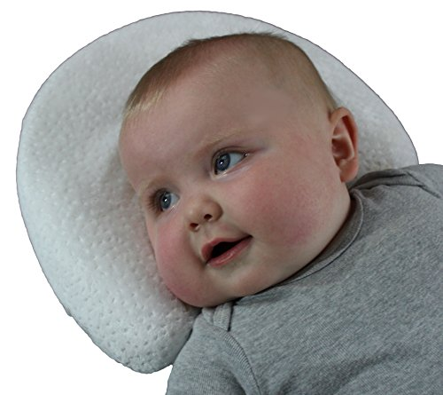 Infant Head Shaping Memory Foam Pillow & Bamboo Pillowcase. Luxury Baby Shower Gift to KEEP a baby's head round.