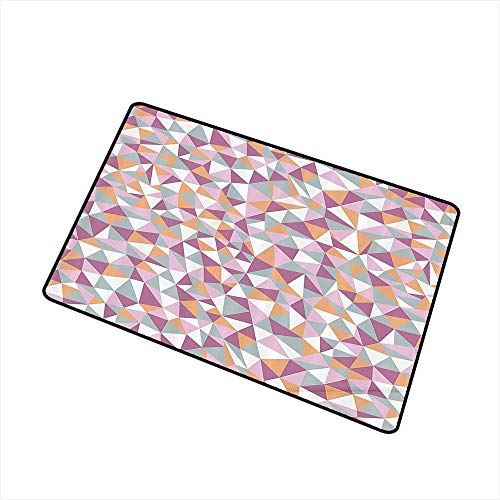 Axbkl Washable Doormat Geometric Decor Collection Mosaic Endless Pattern Tile Simplicity Continuity Texture Effect Print W31 xL47 with Anti-Slip Support Light Salmon Lilac Blue