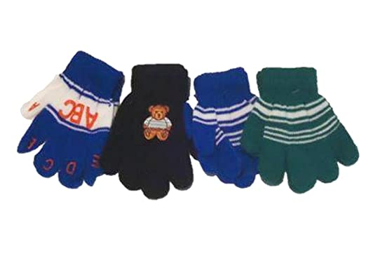 Accessories Set of Four Pairs One Size Magic Gloves for Infants and Toddlers Ages 1-4 Years