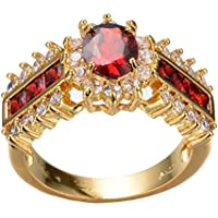 BKK Silver rings 1.0/ct Red Ruby White CZ Wedding Ring Size 5-12 10KT Yellow Gold Filled Jewelry (11)