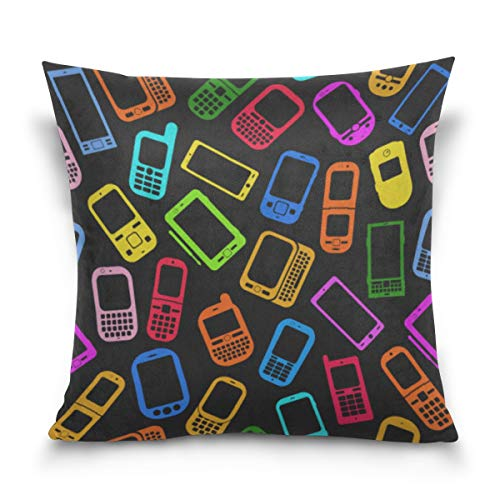 YPink Pillow Case Cover Cushion Cover Vintage Mobile Phone Retro Pillowslip Cotton Velvet Printing Fashion Decor Pillow Covers for Outdoor Home Couch Bedroom-Three Sizes