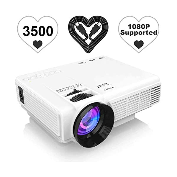 [Latest Upgrade] 3500Lumens Mini Projector, Full HD 1080P 170″ Display Supported,...
