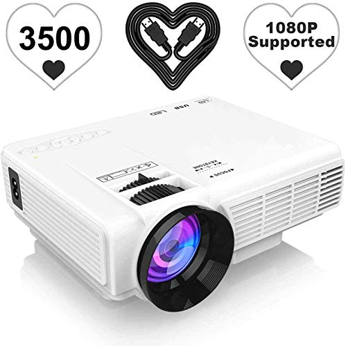 "[Latest Upgrade] 3500Lumens Mini Projector, Full HD 1080P 170"" Display Supported, PS4,TV Stick, Smartphone, USB, SD Card Supported, Great for Home Theater Movies"