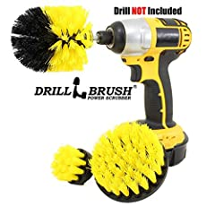 This three piece power scrub brush kit is designed for use with most cordless drills. The Drill is NOT included. These brushes should cut your cleaning and scrubbing time in half or more compared to the rigorous effort involved in hand scrubb...