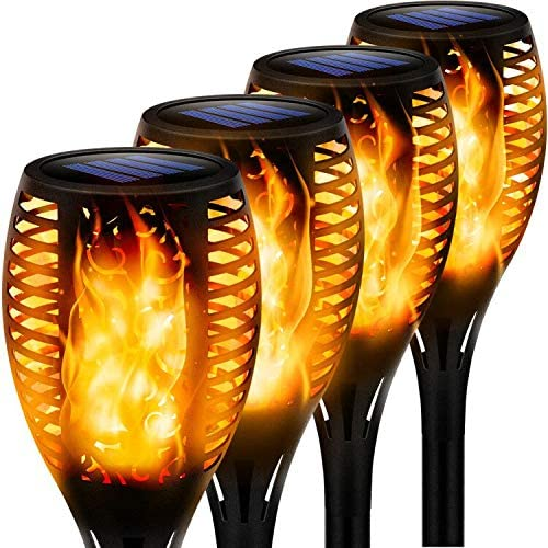 Solar Dancing Flame LED Torch Stake Flickering Outdoor Garden Lights Romantic UK