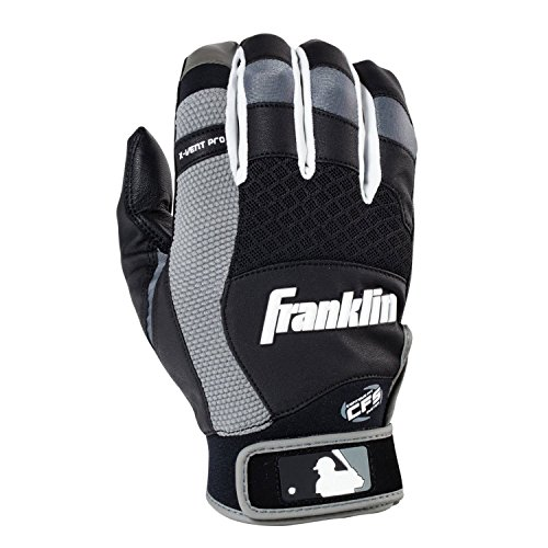 Franklin Sports Adult MLB X-Vent Pro Batting Gloves, Adult Large, Pair, Black/Gray