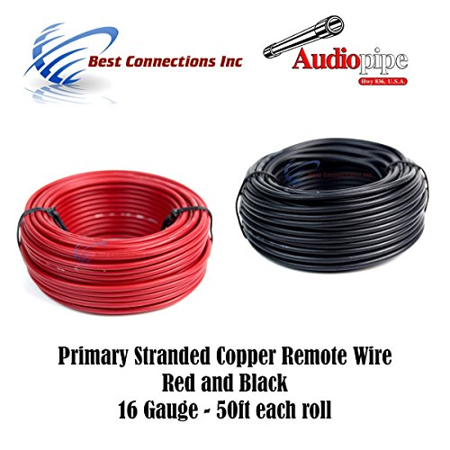 Best Connections 16 Gauge Wire RED & Black Power Ground 50 FT Each Primary Stranded Copper CLAD