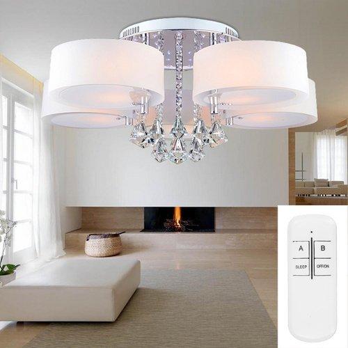 VINGOR Modern 5FL LED Deckenleuchte Acryl Pendelleuchte Kristall Dimmbar Wohnzimmer Hngeleuchte Fernbedienung Amazonde Beleuchtung