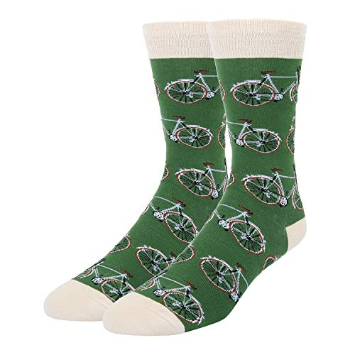 Green Crazy (Novelty Bike Cycle Crew Socks in Green Crazy Funny Bicycle Patterned Dress Socks for Men)