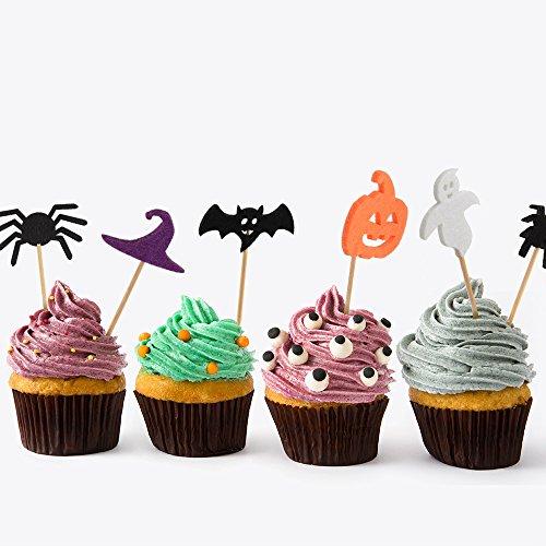 Kuuqa 100 pcs halloween party cupcake toppers picks for Halloween mini cupcake decorating ideas
