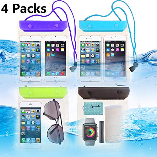 FECEDY 4 Packs Universal Waterproof Case Big Phone Dry Bag Pouch Tablet case for 2pcs iPhone Xs/XR/X/Max 8 7 6S Plus Samsung Galaxy S10 S10e S9 S8 +/Note 9 8, Pixel 3 2 XL