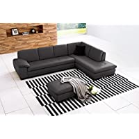 625 Italian Leather Sectional Grey in Right Hand Facing