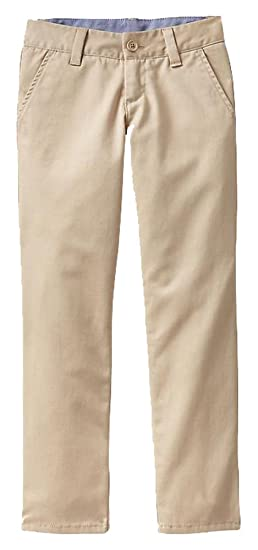 495d356465eb44 Amazon.com  GAP Kids Girls Khaki Classic Chino Straight Leg School Uniform  Pants 16  Clothing