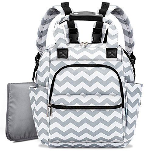 Diaper Bag Backpack for Mom and Dad,BRINCH Multi-Function Lightweight Wave Pattern Baby Diaper Organizer Handbag with Changing Pad,Stroller Straps & Insulated Pocket,Grey Wave