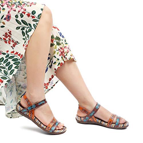 Pour Chaussures Plats 2019 En Pieds Marche Été Talons Confortable Ville Brun Randonnée Semelle De Cuir Gracosy Marron Sandales Femmes Plates Colorées À Larges qXwxXpAZ