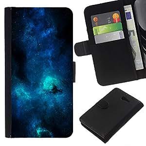 LECELL--Cuero de la tarjeta la carpeta del tirón Smartphone Slots Protección Holder For Sony Xperia M2 -- Azul Galaxia Vía Láctea --