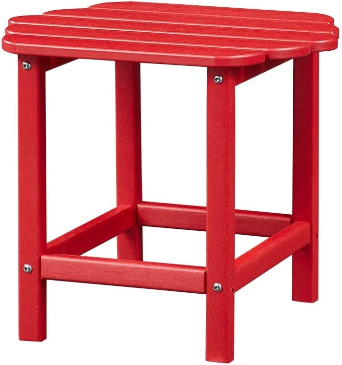Ehomexpert Outdoor Side Table, Adirondack Portable End/Tea Table for Yard,Garden or Any Screen Patio, HDPE Hard Plastic Weather Resistant, Red