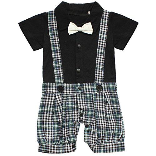 FEESHOW Baby Boys' Short Sleeve One Piece Bowtie Gentleman Romper Jumpsuit Size (Baby Boy Dress Outfit)