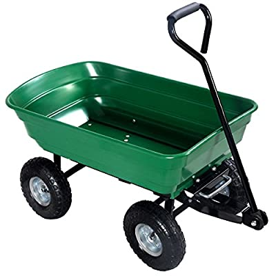 New Dump Cart 650LB Dumper Wagon Carrier Wheel Barrow Air Tires Heavy Duty Green
