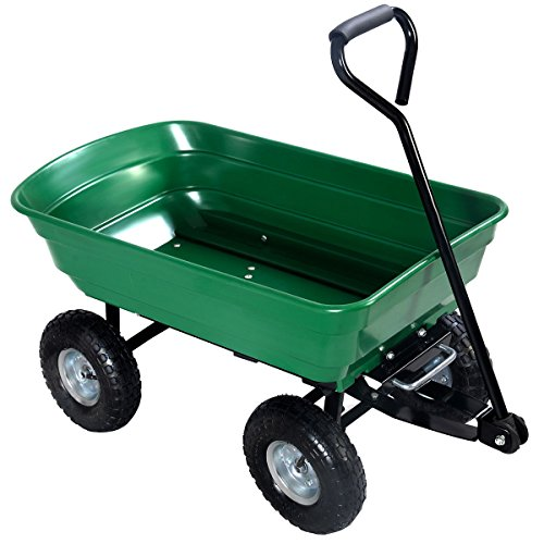 Utility Wagon Garden Cart 650LB Towable Cart Dump Lawn Heavy Duty Buggy Wheel Trailer Steel