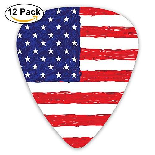 Vintage American Flag Sampler Guitar Picks - 12 Pack Unique Accessory For Guitar Player Best Gift For ()