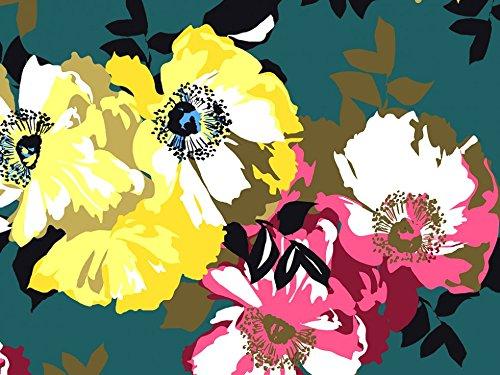 Print Sateen Dress - John Kaldor Floral Print Cotton Sateen Dress Fabric Pink & Yellow on Teal - per metre