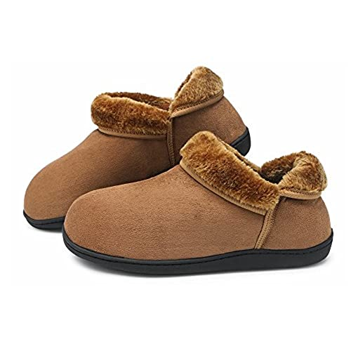 HomyWolf Unisex Cotton House Slippers, Warm Soft Slipper for Indoor/Outdoor,  Light Brown