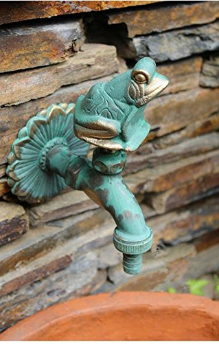 Aquafaucet Frog Decorative Solid Brass Garden Outdoor Faucet - With a Set of Brass Quick Connecter for 1/2' Inches Hose