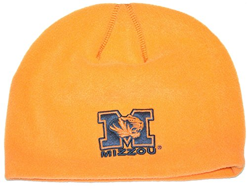 NCAA Licensed Hunter Orange Fleece Beanie Hat Cap Lid (Missouri Mizzou Tigers)